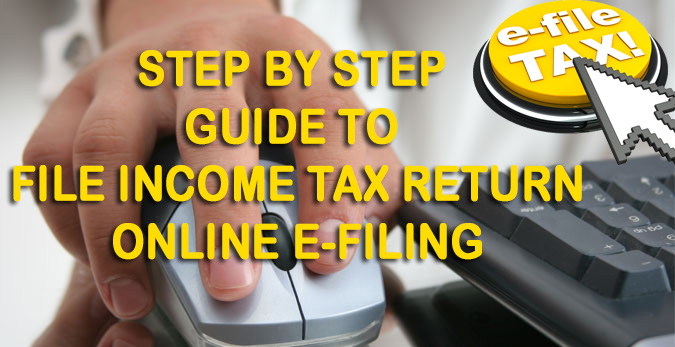 A hand navigating with a mouse with text overlay reading'Step by Step Guide to File Income Tax Return Online'