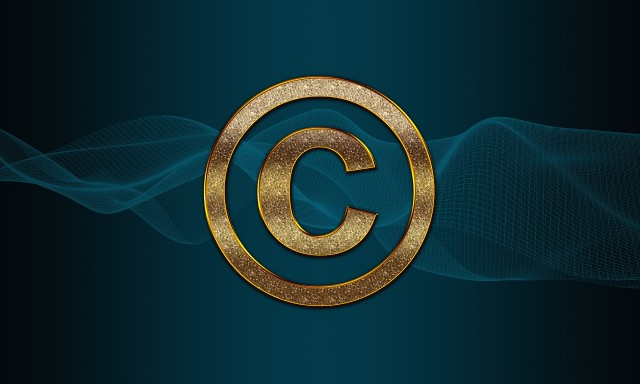 Golden Copyright Sign with a wrapped Letter C
