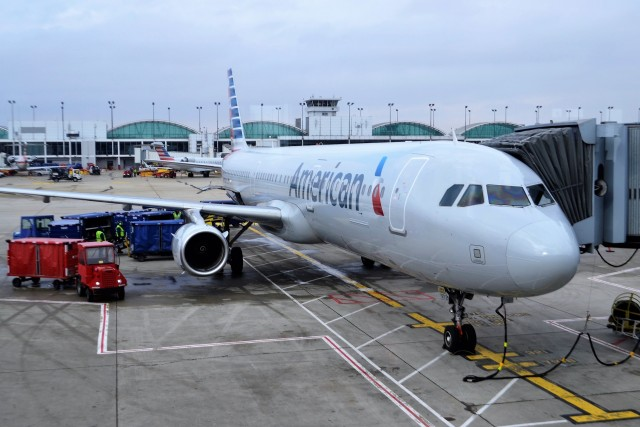 american airlines aircraft parked at an airport